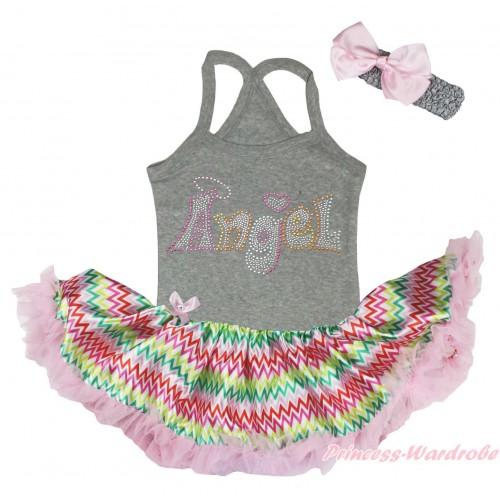 Grey Baby Halter Jumpsuit & Sparkle Rhinestone Angel Print & Rainbow Chevron Pettiskirt JS5195