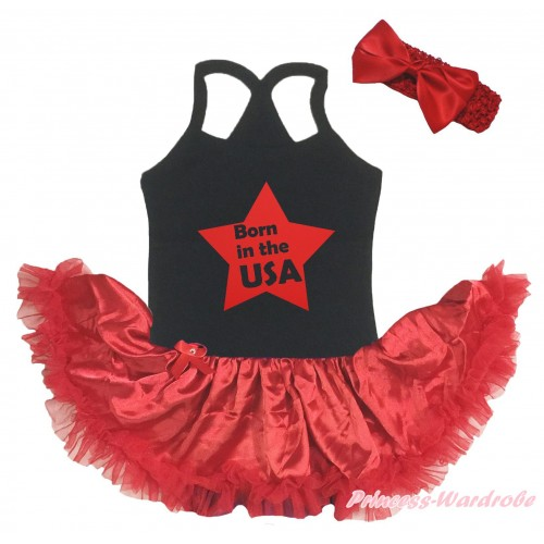 American's Birthday Black Baby Halter Jumpsuit & Born In The USA Star Painting &Red Pettiskirt JS5200