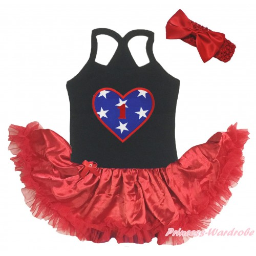 American's Birthday Black Baby Halter Jumpsuit & 1st Birthday Number American Star Heart Print & Red Pettiskirt JS5202