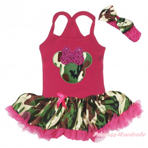 Hot Pink Baby Halter Jumpsuit & Camouflage Minnie Print & Camouflage Hot Pink Pettiskirt JS5207