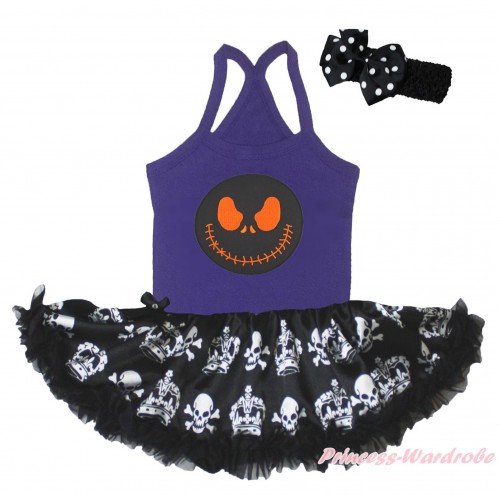 Halloween Dark Purple Baby Halter Jumpsuit & Nightmare Before Christmas Jack & Black Crown Skeleton Pettiskirt JS5217
