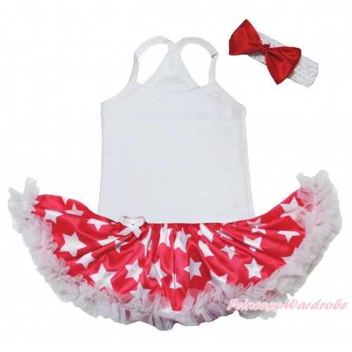 American's Birthday White Baby Halter Jumpsuit & Red Patriotic American Star Pettiskirt JS5219