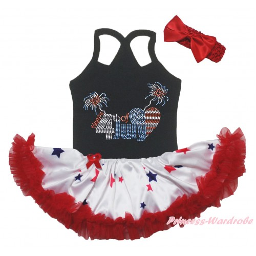 American's Birthday Black Baby Halter Jumpsuit & Sparkle Rhinestone 4th Of July Print & Red Blue Star Pettiskirt JS5230