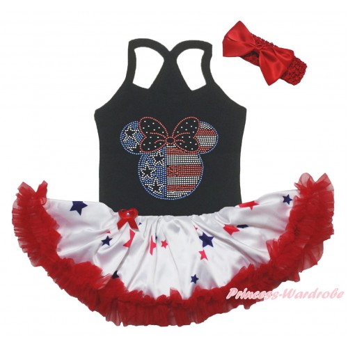 American's Birthday Black Baby Halter Jumpsuit & Sparkle Crystal Bling Rhinestone 4th July Minnie Print & Red Blue Star Pettiskirt JS5231