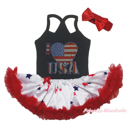 American's Birthday Black Baby Halter Jumpsuit & Sparkle Rhinestone I Love USA Print & Red Blue Star Pettiskirt JS5232