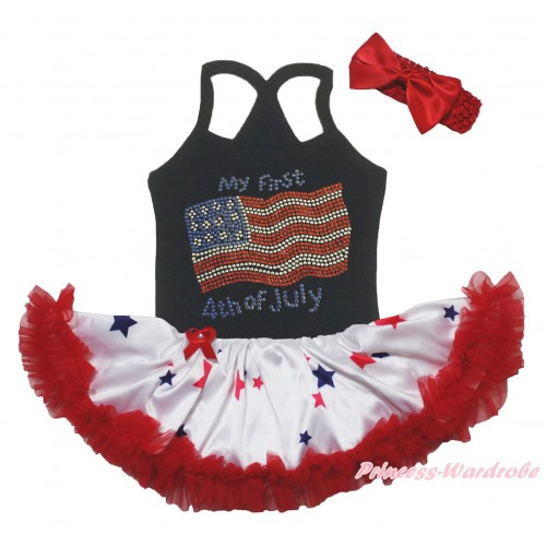 American's Birthday Black Baby Halter Jumpsuit & Sparkle Rhinestone My First 4th Of July Print & Red Blue Star Pettiskirt JS5233