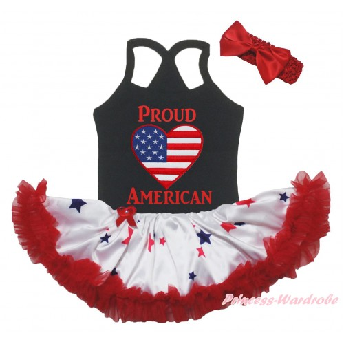 American's Birthday Black Baby Halter Jumpsuit & Patriotic American Heart Proud American Painting & Red Blue Star Pettiskirt JS5234