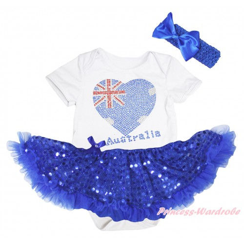 American's Birthday White Baby Bodysuit Jumpsuit Bling Royal Blue Sequins Pettiskirt & Sparkle Crystal Bling Rhinestone Australia Heart Print JS5239