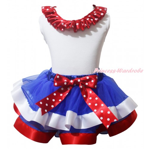 American's Birthday White Pettitop Minnie Dots Lacing & Bow & Royal Blue Red White Trimmed Pettiskirt MG2171