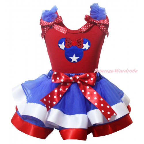 American's Birthday Red Pettitop Royal Blue Ruffles Minnie Dots Bow & Patriotic American Star Minnie Print & Royal Blue White Red Trimmed Pettiskirt MG2181