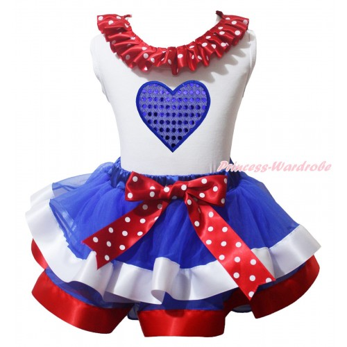 American's Birthday White Baby Pettitop Minnie Dots Lacing & Bow & Sparkle Royal Blue Heart Print & Royal Blue Red White Trimmed Baby Pettiskirt NG2081