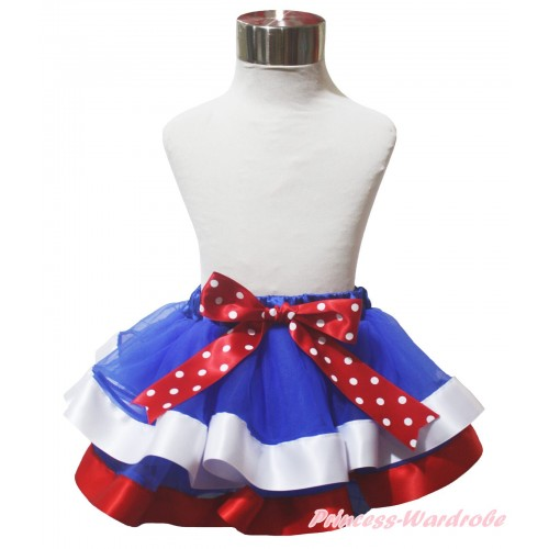 American's Birthday Royal Blue White Red Trimmed Full Pettiskirt & Bow P251