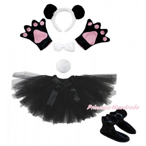 Black White Panda 4 Piece Set in Headband, Tie, Tail , Paw & Shoes & Black Ballet Tutu & Bow PC103