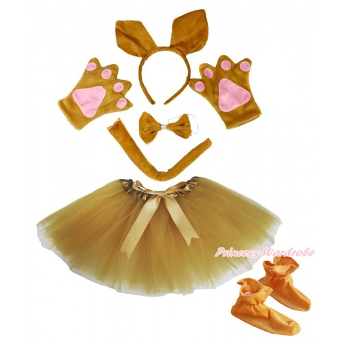 Brown Kangaroo 4 Piece Set in Ear Headband, Tie, Tail , Paw & Shoes & Goldenrod Ballet Tutu & Bow PC110