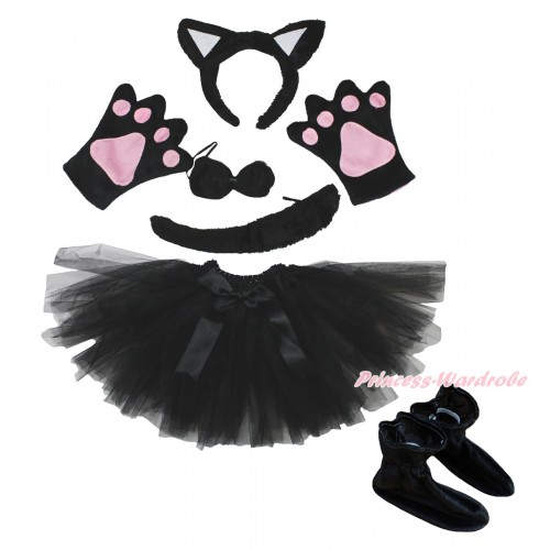 Black Cat 4 Piece Set in Ear Headband, Tie, Tail , Paw & Shoes & Black Ballet Tutu & Bow PC116