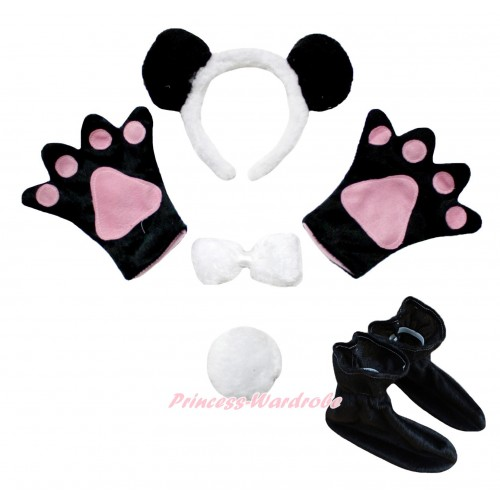 Black White Panda 4 Piece Set in Headband, Tie, Tail , Paw & Shoes PC125