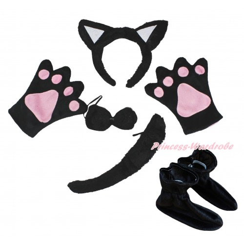 Black Cat 4 Piece Set in Ear Headband, Tie, Tail , Paw & Shoes PC136