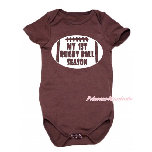 Brown Baby Jumpsuit & My 1st Rugby Ball Season Painting TH677