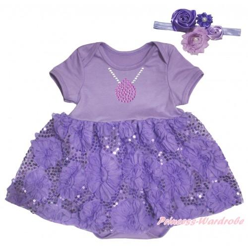 Princess Sofia Lavender Baby Bodysuit Lavender Bling Sparkle Sequins Rose Pettiskirt & Sparkle Rhinestone Necklace Print JS5464