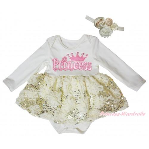 Cream White Long Sleeve Baby Bodysuit Cream White Bling Sparkle Sequins Rose Pettiskirt & Princess Print JS5467