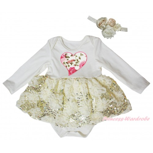 Cream White Long Sleeve Baby Bodysuit Cream White Bling Sparkle Sequins Rose Pettiskirt & Light Pink Rose Heart Print JS5468