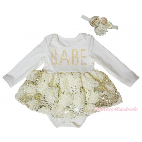 Cream White Long Sleeve Baby Bodysuit Cream White Bling Sparkle Sequins Rose Pettiskirt & Sparkle Rhinestone BABE Print JS5469
