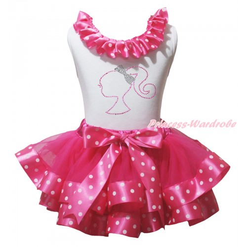 White Pettitop Hot Pink White Dots Lacing & Sparkle Rhinestone Barbie Princess Print & Hot Pink White Dots Trimmed Pettiskirt MG2264