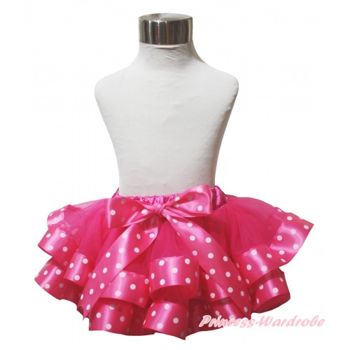 Hot Pink White Dots Trimmed Newborn Baby Pettiskirt & Bow N299