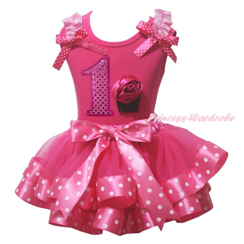 Hot Pink Baby Pettitop Light Pink Ruffles Hot Pink White Dots Bow & 1st Sparkle Hot Pink Birthday Number & Rose Cupcake Print & Hot Pink White Dots Trimmed Baby Pettiskirt NG2125