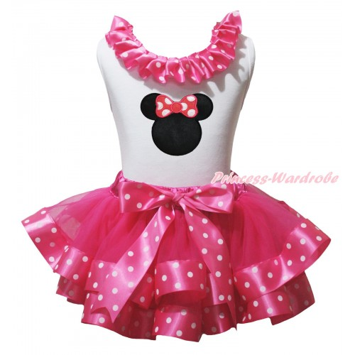 White Baby Pettitop Hot Pink White Dots Lacing & Minnie Print & Hot Pink White Dots Trimmed Baby Pettiskirt NG2129