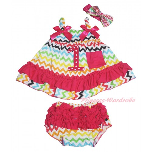Rainbow Chevron Wave Swing Top Hot Pink Bow & 1st Hot Pink White Dots Birthday Number & Panties Bloomers & Headband SP44