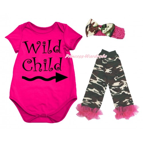Hot Pink Baby Jumpsuit & Wild Child Painting & Hot Pink Headband Camouflage Satin Bow & Warmer Set TH717
