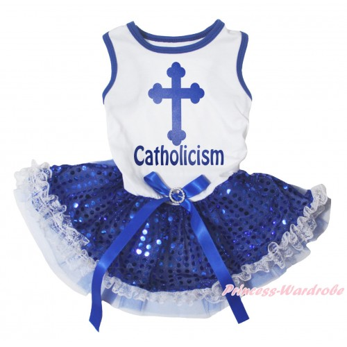 White Blue Piping Sleeveless Royal Blue Lace Gauze Skirt & Cross Catholicism Painting & Royal Blue Rhinestone Bow Pet Dress DC294