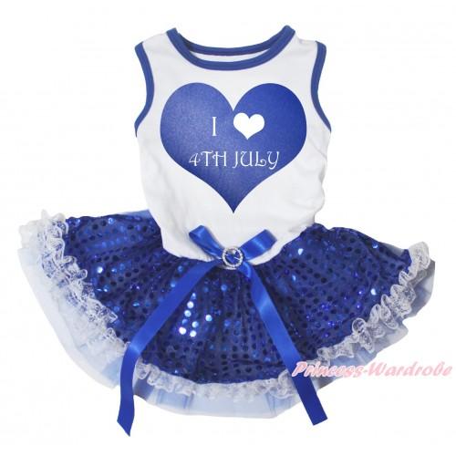 American's Birthday White Sleeveless Bling Royal Blue Sequins Lace Gauze Skirt & I Love 4th July Heart Painting & Royal Blue Rhinestone Bow Elegent Pet Dress DC295