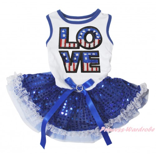 American's Birthday White Blue Piping Sleeveless Royal Blue Lace Gauze Skirt & Sparkle American LOVE Print & Royal Blue Rhinestone Bow Pet Dress DC298