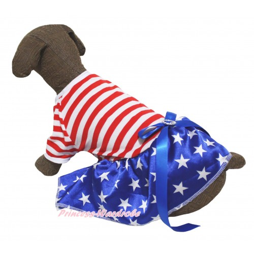 American's Birthday Red White Striped Short Sleeves Patriotic American Star Skirt & Royal Blue Rhinestone Bow Pet Dress DC299