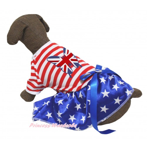 American's Birthday Red White Striped Short Sleeves Patriotic American Star Skirt & Patriotic British Butterfly Print & Royal Blue Rhinestone Bow Pet Dress DC300