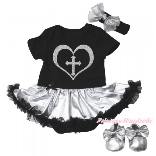 Christian Black Baby Bodysuit Silver Black Pettiskirt & Sparkle Cross Heart Painting & Silver Shoes JS5101