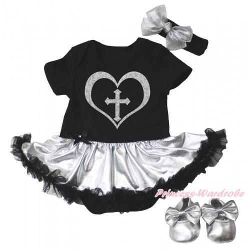 Christian Black Baby Bodysuit Silver Black Pettiskirt & Sparkle Cross Heart Painting & Silver Shoes JS5101