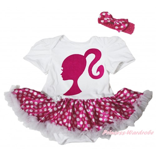 White Baby Bodysuit Hot Pink White Dots Pettiskirt & Hot Pink Barbie Princess Print JS5110