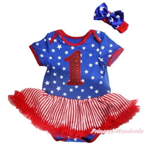 American's Birthday Royal Blue White Star Baby Bodysuit Jumpsuit White Red Striped Pettiskirt & 1st Sparkle Red Birthday Number Print JS5130