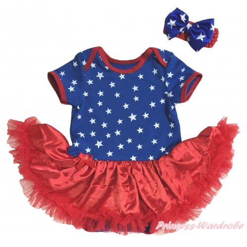 American's Birthday Royal Blue White Star Red Piping Bodysuit Red Pettiskirt & Red Headband Royal Blue White Star Bow JS5132