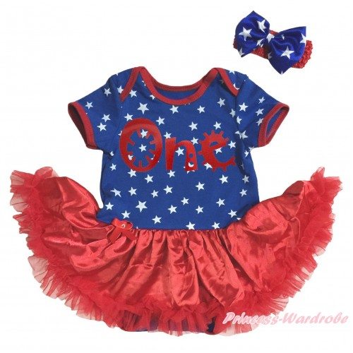 American's Birthday Royal Blue White Star Red Piping Bodysuit Red Pettiskirt & Red One Painting & Red Headband Royal Blue White Star Bow JS5134