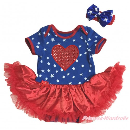 American's Birthday Royal Blue White Star Red Piping Bodysuit Red Pettiskirt & Sparkle Red Heart Print & Red Headband Royal Blue White Star Bow JS5135