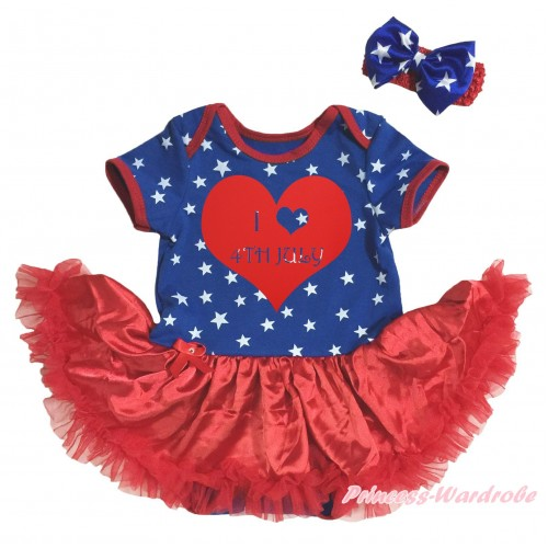 American's Birthday Royal Blue White Star Red Piping Bodysuit Red Pettiskirt & Red I Heart 4th Of July Painting & Red Headband Royal Blue White Star Bow JS5136