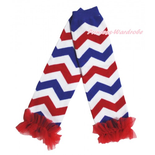 American's Birthday Newborn Baby Red White Royal Blue Wave Leg Warmers Leggings With Red Ruffles LG303