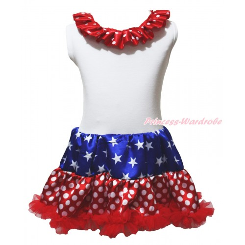 American's Birthday White Tank Top Minnie Dots Lacing Patriotic American Stars & Minnie Dots ONE-PIECE Petti Dress LP239
