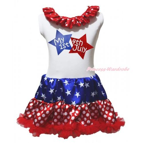 American's Birthday White Tank Top Minnie Dots Lacing Patriotic American Stars & My 1st American 4th Of July Twin Star Painting & Minnie Dots ONE-PIECE Petti Dress LP240