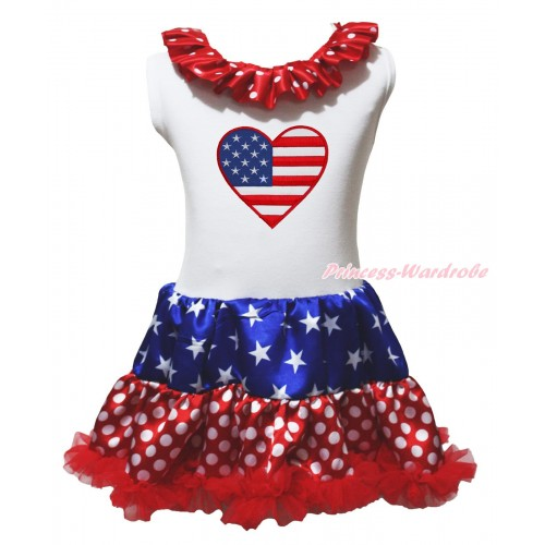 American's Birthday White Tank Top Minnie Dots Lacing Patriotic American Stars & Patriotic American Heart & Minnie Dots ONE-PIECE Petti Dress LP241