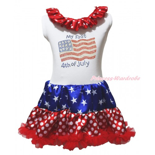 American's Birthday White Tank Top Minnie Dots Lacing Patriotic American Stars & Sparkle Rhinestone My First American 4th Of July Print & Minnie Dots ONE-PIECE Petti Dress LP242